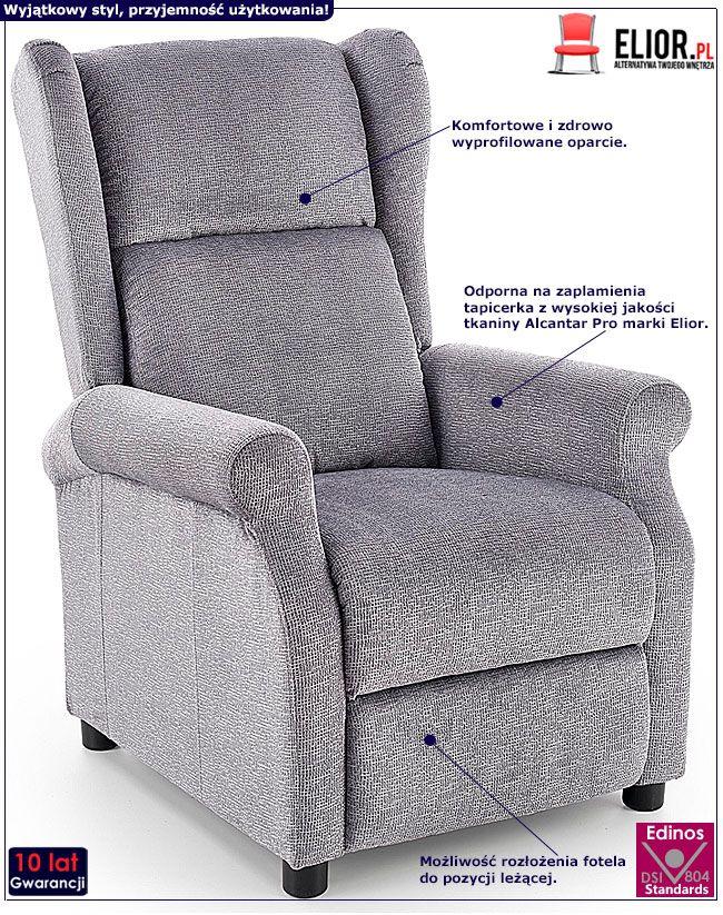 Szary rozkładany fotel do salonu Alden