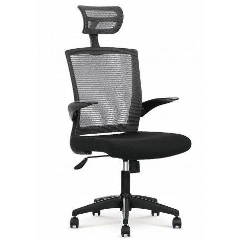 Zdjęcie produktu Fotel obrotowy z zagłówkiem Fisko - czarny.