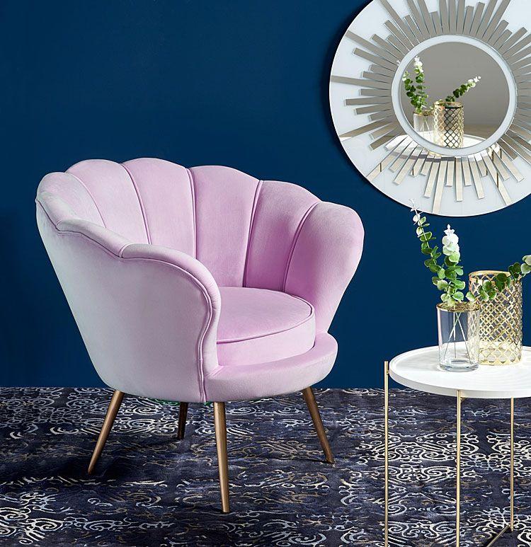 Różowy fotel wypoczynkowy do salonu Shelli