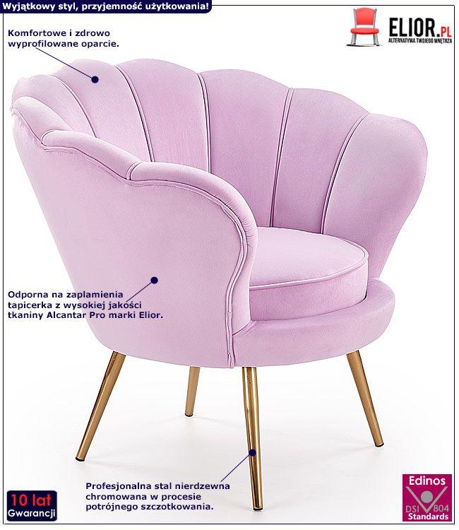 Różowy fotel muszelka Shelli