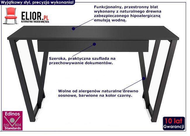 czarne minimalistyczne biurko