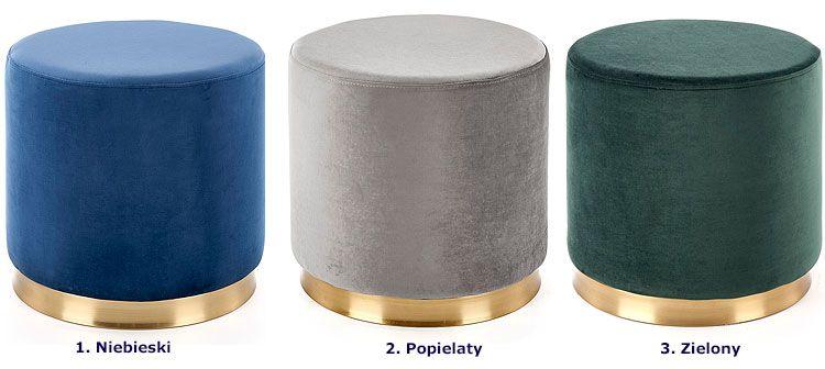 Okrągła pufa tapicerowana w stylu glamour Lexti