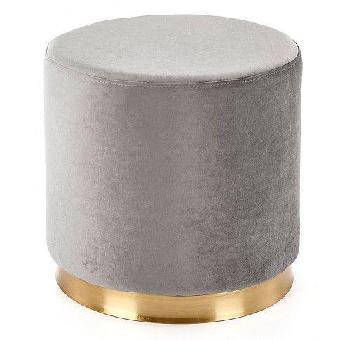 Zdjęcie produktu Okrągła pufa ze złotym wykończeniem Lexti - popielata.
