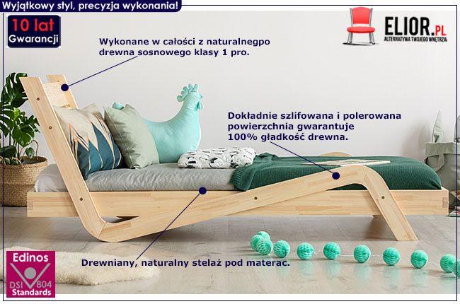 Drewniane łóżko z zagłówkiem Miko 3X