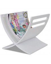 Drewniany stojak na gazety Varis 2X - biały