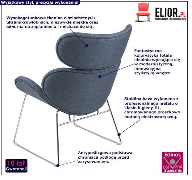 Komfortowy fotel Beliks 2X - niebieski