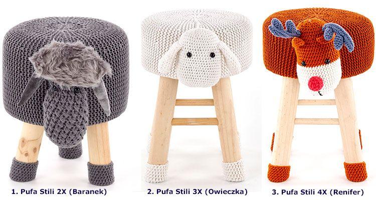 Drewniana pufa dla dziecka w kształcie zwierzątka Stili