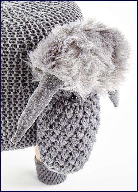 Szara pufa dla dzieci w kształcie baranka Stili 2X