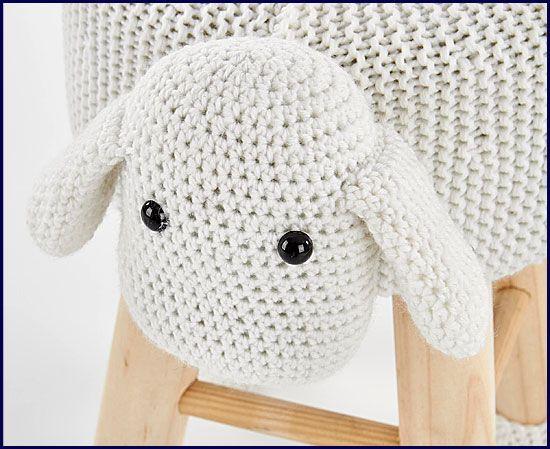 Dziecięca pufa okrągła owieczka Stili 3X