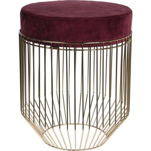 Zdjęcie produktu Glamour pufa okrągła Welma - bordowa.