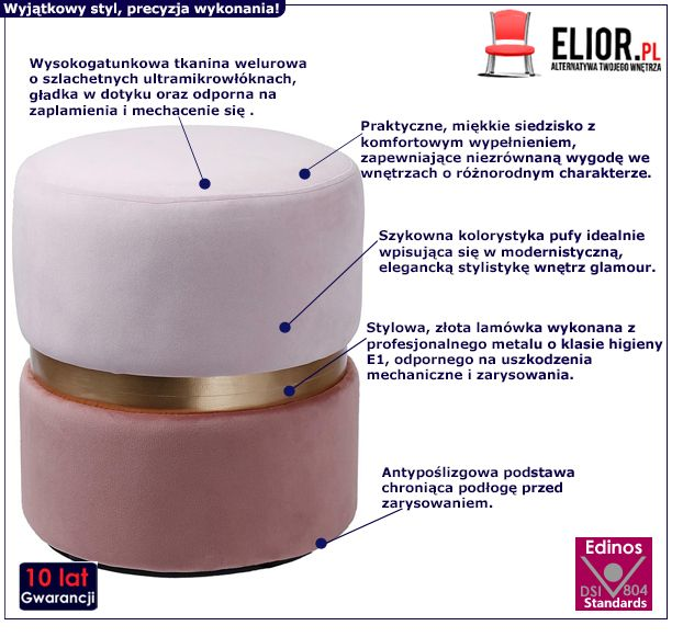 Glamour pufa Mulla 3X - różowa