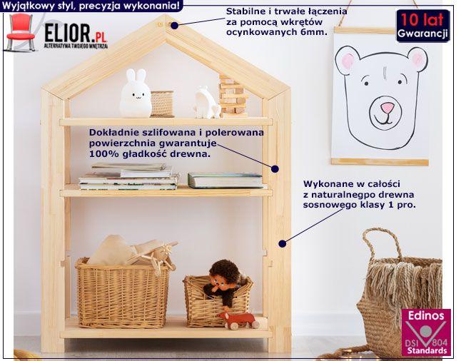 Drewniany regał w formie domku do pokoju dziecięcego Rosie 4X