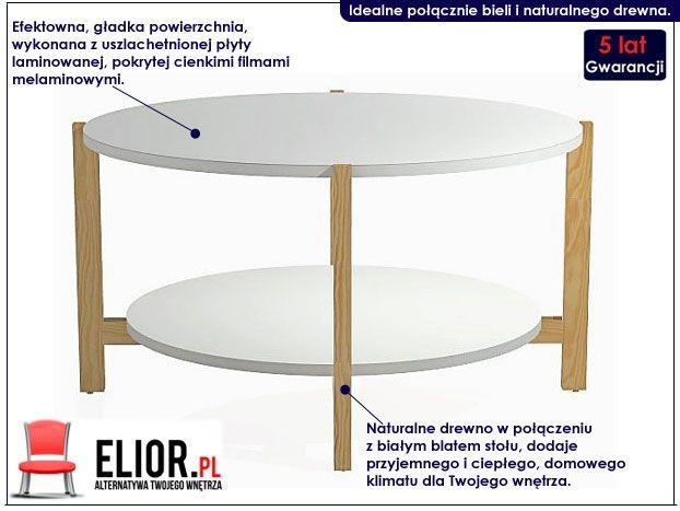 Skandynawski stolik kawowy biały Inelo L15