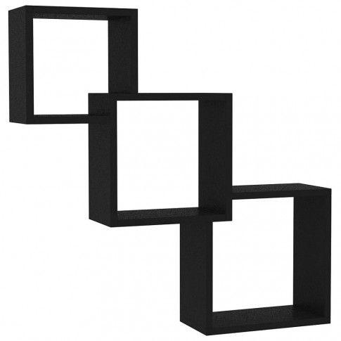 Zdjęcie produktu Zestaw czarnych półek ściennych - Lindsay.