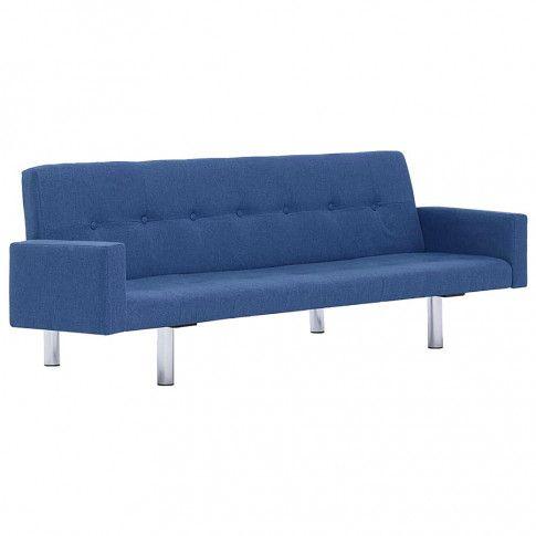Zdjęcie produktu Rozkładana sofa Nesma  z podłokietnikami - niebieska.