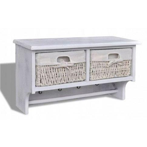 Zdjęcie produktu Drewniana półka ścienna z szufladami Stean - biała.