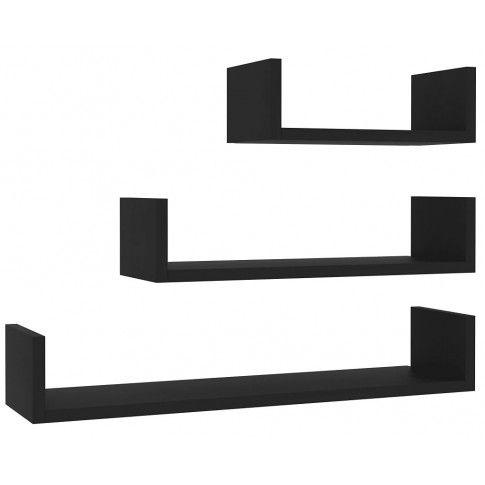 zestaw czarnych półek ściennych baffic 3x