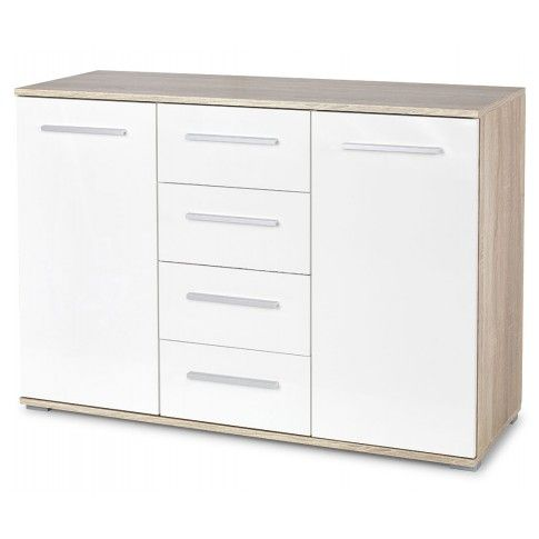 Zdjęcie produktu Komoda Lines C3 - biała + dąb sonoma.