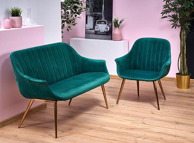 Szmaragdowy fotel wypoczynkowy do czytania Karins 3X