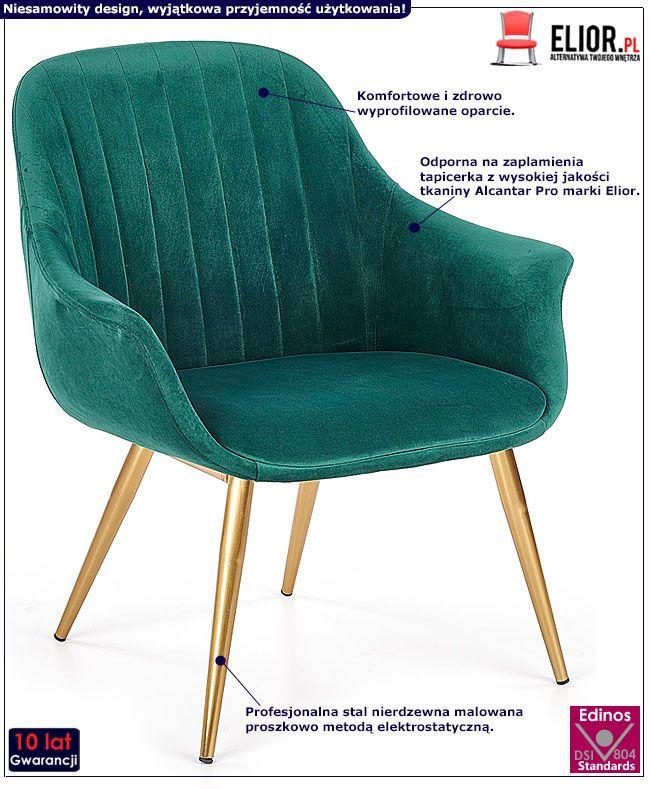 Tapicerowany, szmaragdowy fotel do salonu Karins 3X