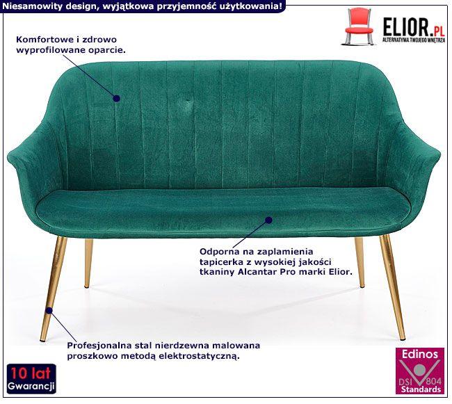 Dwuosobowa zielona sofa w stylu glamour Karins 4X