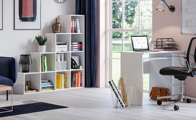 Praktyczne biurko Aglo - białe