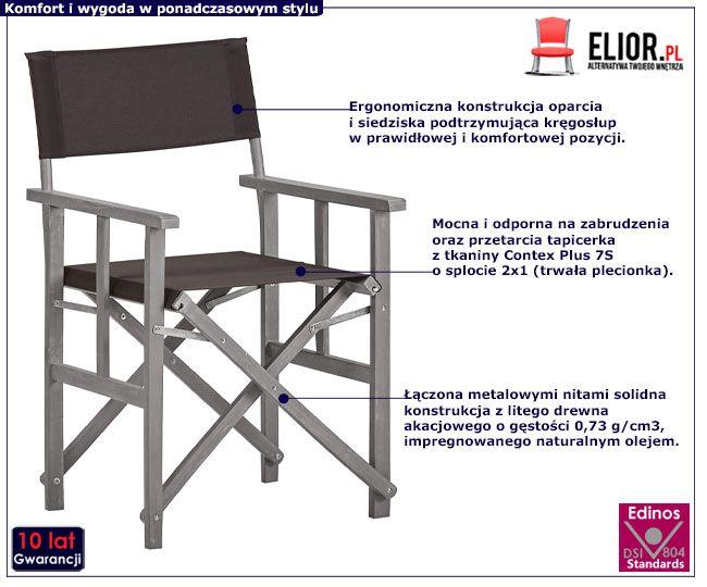 Tarasowe krzesła drewniane reżyserskie Martin czarne