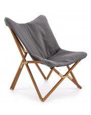 Wypoczynkowy fotel składany Kasan - jasny popiel