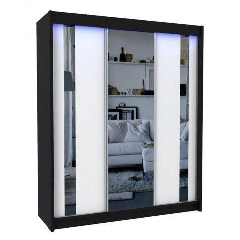 Zdjęcie produktu Szafa przesuwna Victoria 3X - czarno biała lustro.