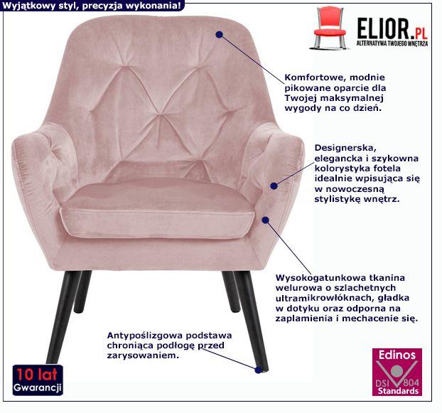 Różowy fotel Murio - welurowy