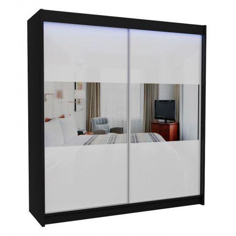 Zdjęcie produktu Szafa przesuwna Margot - biało czarna lustro.