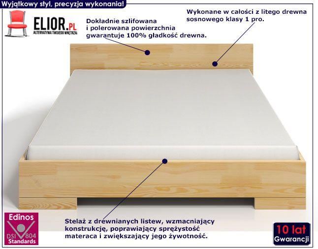 Drewniane łóżko skandynawskie z zagłówkiem Laurell 4S