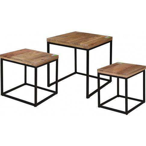 Zdjęcie produktu Zestaw kawowych stolików w stylu loft - Oxon - mango.