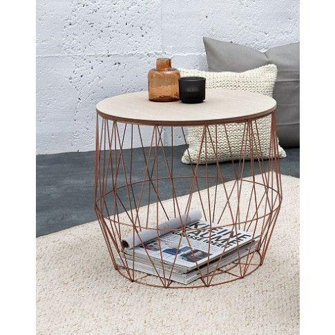 Zdjęcie produktu Okrągły stolik kawowy druciany Azzuro 2X - miedziany.