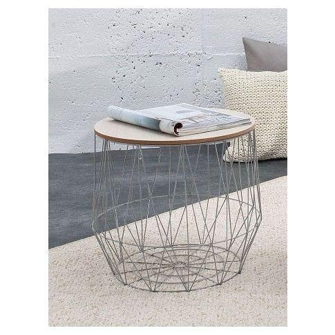 Zdjęcie produktu Okrągły stolik kawowy ze schowkiem Azzuro 2X - szary.