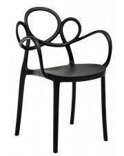 Krzesło ażurowe nowoczesne Fiori 2X - czarne