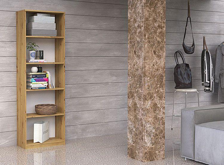 Regał biurowy na dokumenty, książki dąb artisan Nidan 2X