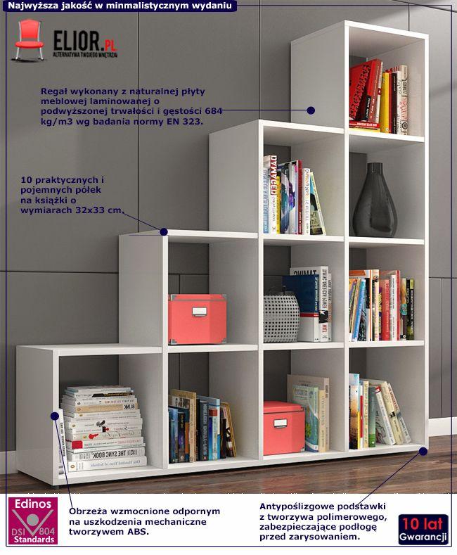 Regał biblioteczny biały Maleo 4X