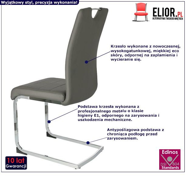 Ciemnoszare krzesło Kristi - eco skóra