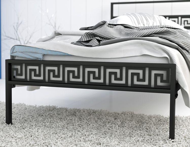 Metalowe łóżko z motywem greckim Korfu
