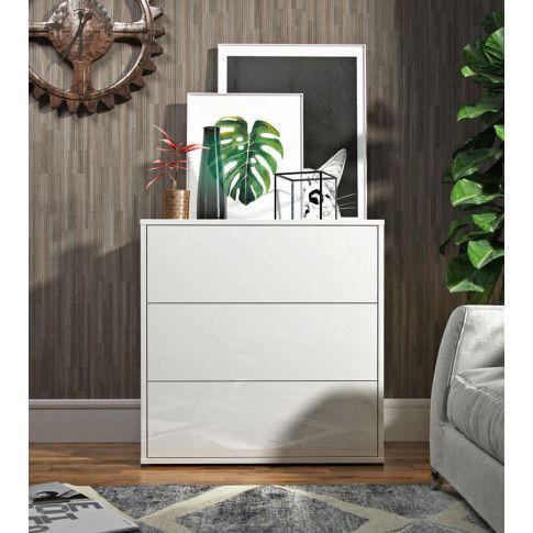 Zdjęcie produktu Skandynawska komoda z szufladami Marina - Biały połysk.