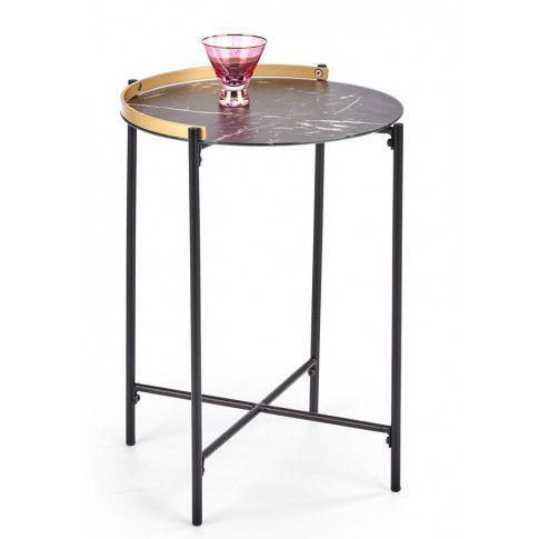 Zdjęcie produktu Marmurkowy stolik kawowy Onyx - Czarny.