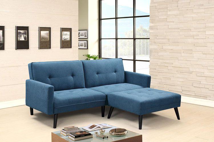 Sofa Lanila - wersja niebieska, złożona.