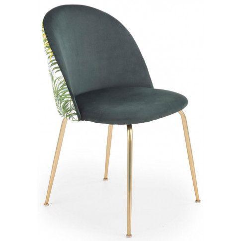 Zdjęcie produktu Tapicerowane krzesło w stylu glamour Sollo - zielone.