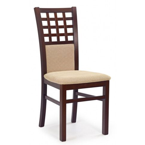 Zdjęcie produktu Stylowe krzesło drewniane Eddie - Ciemny orzech.