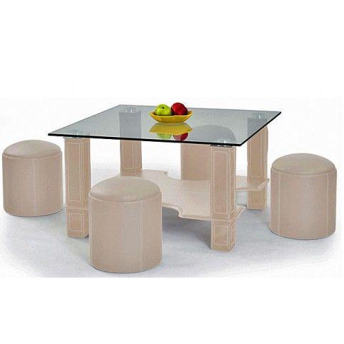 Zdjęcie produktu Ława z pufami Zora - kremowa.