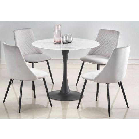 Zdjęcie produktu Okrągły szklany stolik Lanco - biały marmur.