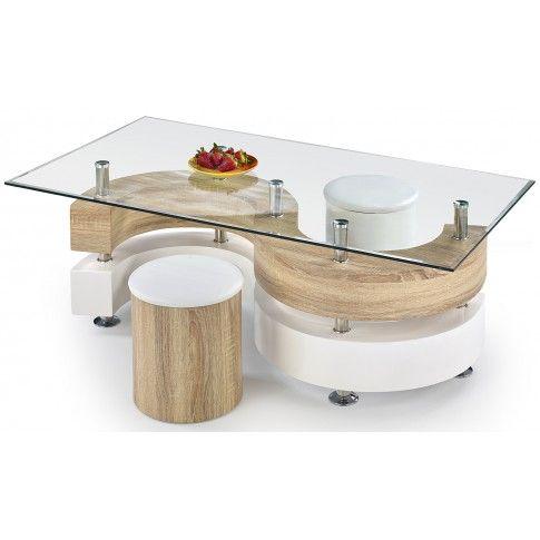 Zdjęcie produktu Ława z pufami Safira - biała + dąb sonoma.