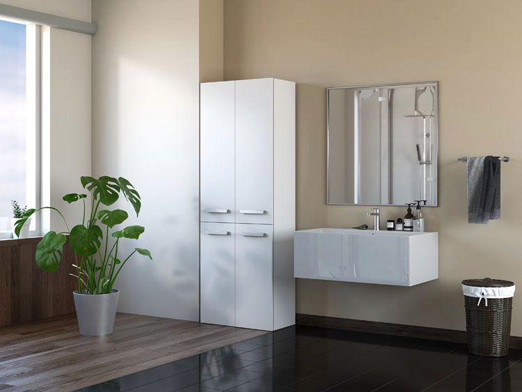 Biała szafka do łazienki z koszem Malmo 3X