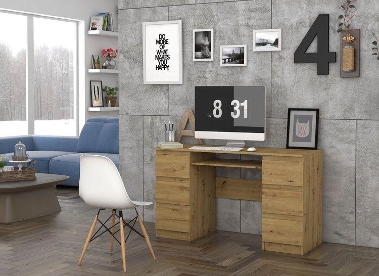 Skandynawskie biurko dla gracza Liner 2X dąb artisan